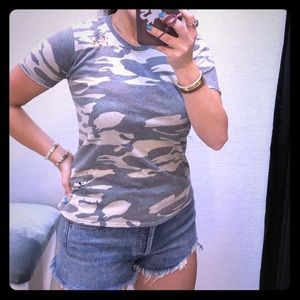 Distressed camouflage baby tee